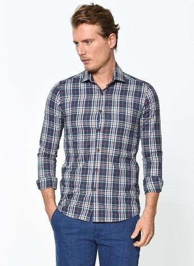 Wessi Uzun Kollu Kareli Gömlek Lacivert